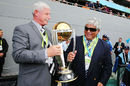 Richard Hadlee and Arjuna Ranatunga with the World Cup trophy, New Zealand v South Africa, World Cup 2015, 1st Semi-Final, Auckland, March 24, 2015