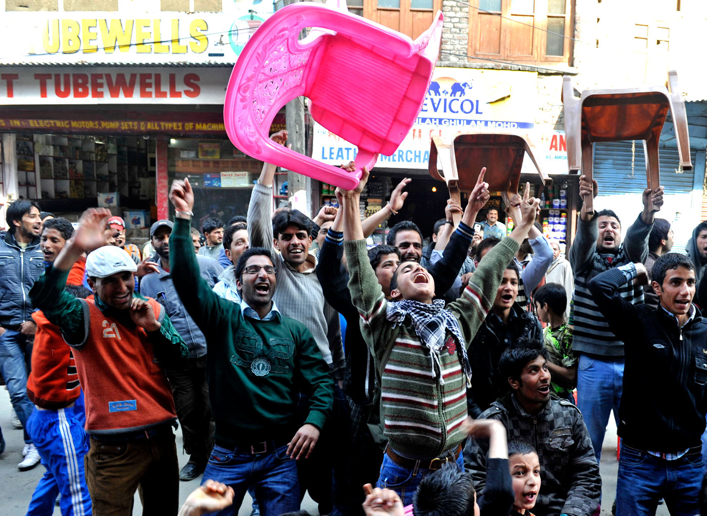 Who you gonna support? Kashmiris in Srinagar celebrate the fall of an Indian wicket during the India-Pakistan World Cup semi-final in 2011