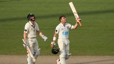 Marcus Harris celebrates his hundred