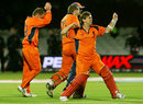 Jeroen Smits pumps his fist as Netherlands celebrate their dramatic last-ball win, England v Netherlands, ICC World Twenty20, Lord's, June 5, 2009