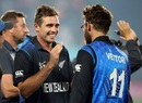 Tim Southee and Daniel Vettori bask in the glory of victory, New Zealand v South Africa, World Cup 2015, 1st semi-final, Auckland, March 24, 2015