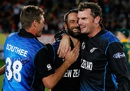 Grant Elliott, Kyle Mills and Tim Southee soak in the historic win, New Zealand v South Africa, World Cup 2015, 1st semi-final, Auckland, March 24, 2015
