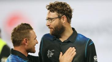 Brendon McCullum congratulates Daniel Vettori