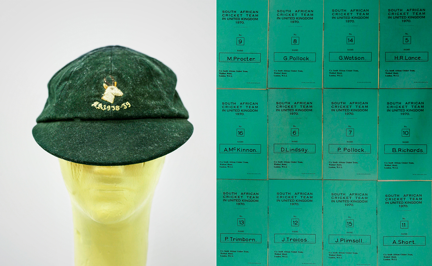 Alan Melville's cap from the Durban Timeless Test in 1938-39; booklets from South Africa's cancelled 1970 tour of England