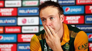AB de Villiers wears a despondent look during the press conference