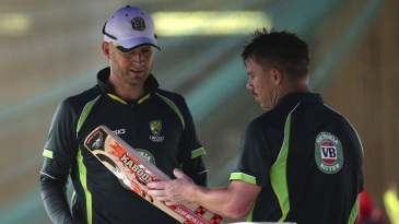 Michael Clarke has a chat with David Warner