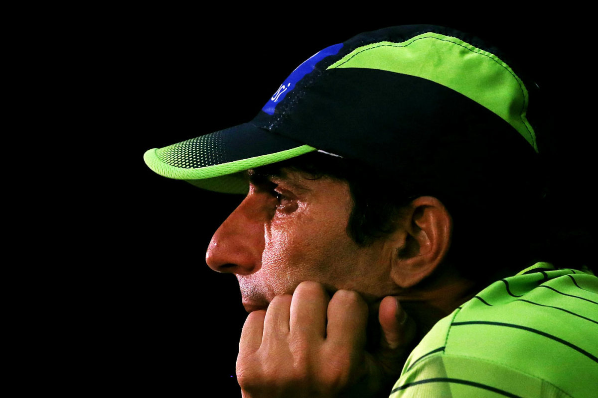 Misbah-ul-Haq at the press conference after the India-Pakistan match