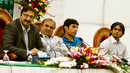 PCB chairman Zaka Ashraf addresses a press conference with the new chief selector Iqbal Qasim and Misbah-ul-Haq and Mohammad Hafeez, Lahore, May 10, 2012