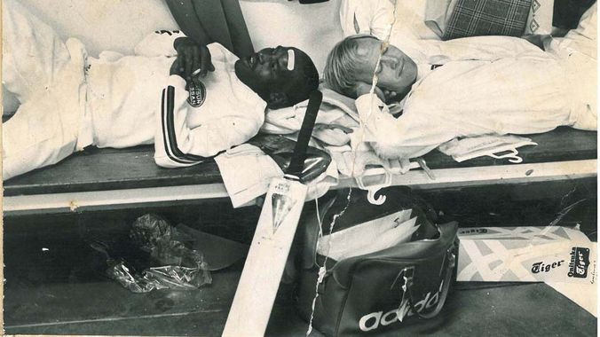 Apartheid negator: Edmund Ntikinca and Tony Greig in the Wanderers dressing room in the '70s