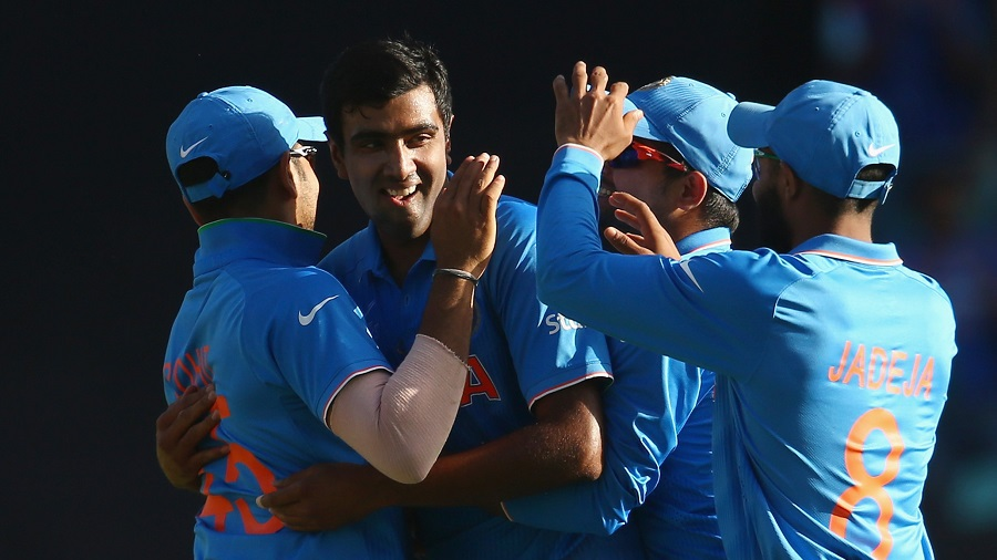R Ashwin removed Glenn Maxwell for 23 off 14 balls as India fought back. They took three wickets for 16 runs to have Australia at 248 for 5 in the 43rd over