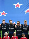Tim Southee, Daniel Vettori, Trent Boult and Corey Anderson before the start of the game, New Zealand v South Africa, World Cup 2015, 1st Semi-Final, Auckland, March 24, 2015