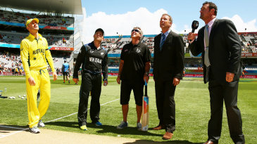 Michael Clarke and Brendon McCullum at the toss