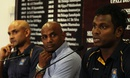 Angelo Mathews, Sanath Jayasuriya and Marvan Atapattu at a press confernece after Sri Lanka's return from the World Cup, Colombo, March 27, 2015