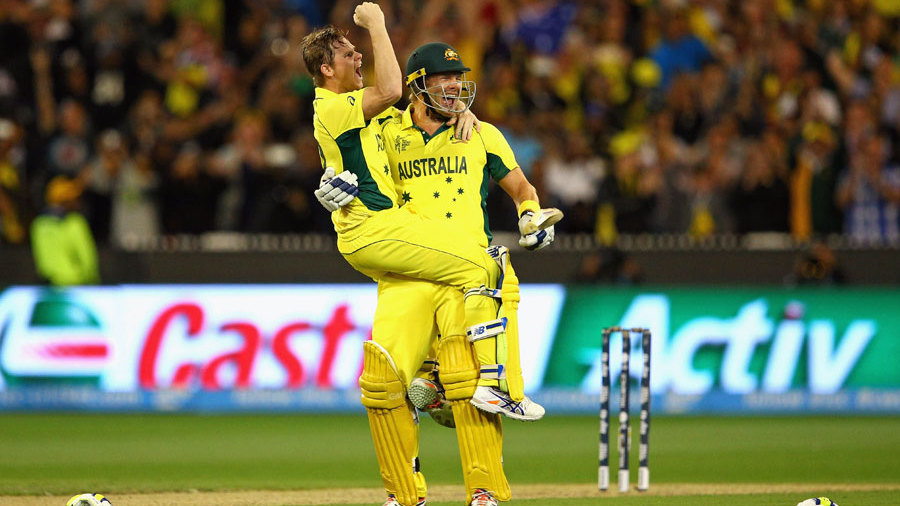 Steven Smith and Shane Watson celebrate Australia's fifth World Cup title