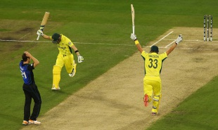 The moment: Steven Smith and Shane Watson take off after the winning runs, Australia v New Zealand, World Cup 2015, final, Melbourne, March 29, 2015
