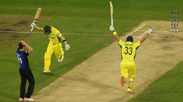 The moment: Steven Smith and Shane Watson take off after the winning runs