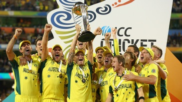 A jubilant Australia team after lifting the World Cup
