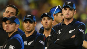 Dejected New Zealand players look on during the presentation ceremony