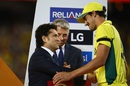 Mitchell Starc receives the Man-of-the-Series award from Sachin Tendulkar, Australia v New Zealand, World Cup 2015, final, Melbourne, March 29, 2015