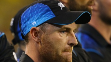 Brendon McCullum appears downcast at the presentation