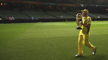 James Faulkner enjoys a solitary moment with the trophy