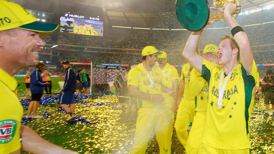Smith gone wild: David Warner sprays champagne on teammates