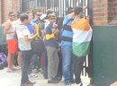 Indian fans at Seddon Park try to catch a glimpse of the players, Hamilton, March 2015