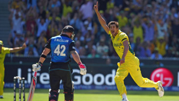 Mitchell Starc takes off after bowling Brendon McCullum
