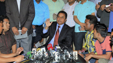 Mustafa Kamal talks to the media after resigning as ICC president