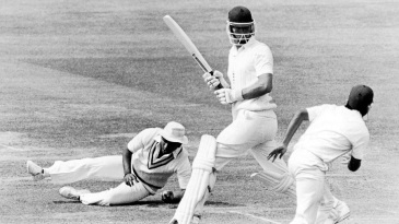 India's Sunil Gavaskar takes a smart catch at silly mid-off to dismiss England debutant Derek Pringle for 7