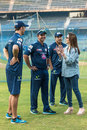 Mumbai Indians owner Nita Ambani talks to members of the team's coaching staff, Mumbai, April 3, 2014