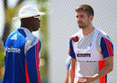England fast-bowling coach Ottis Gibson with pacer Mark Wood during a training session, St Kitts, April 5, 2015