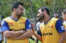 Mohammed Shami has a chat with Zaheer Khan, Delhi, April 6, 2015