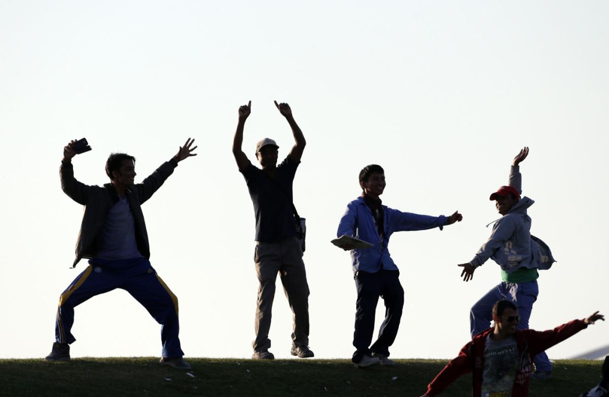 Nepal fans dance