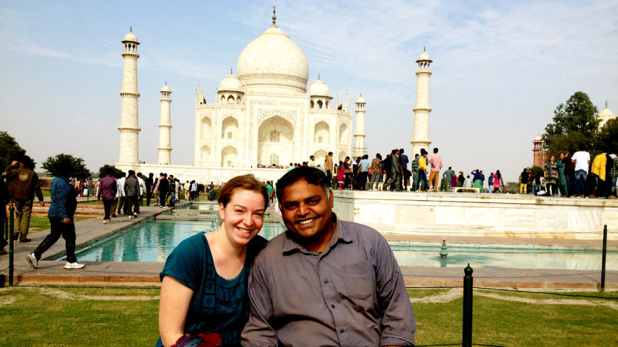 Subash Jayaraman and hiw wife at the Taj Mahal