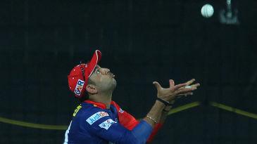 Yuvraj Singh takes a catch to dismiss Brendon McCullum