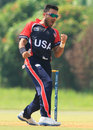 Danial Ahmed celebrates a wicket, ICC World Cricket League Division Three, Kuala Lumpur