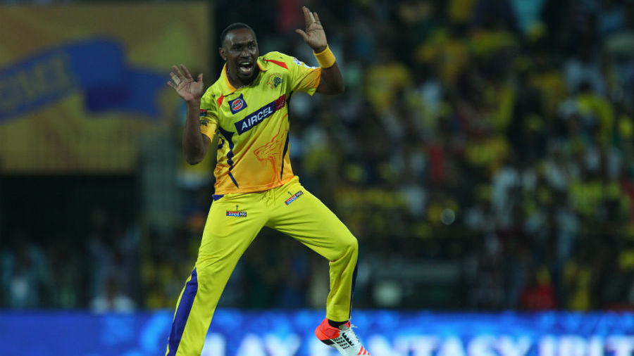 Dwayne Bravo celebrates a wicket with his trademark dance move