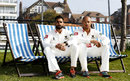 Ajmal Shahzad and Tymal Mills sit on deck chairs at a Sussex photocall , Hove, April 9, 2015