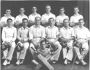 Richie Benaud (second row, third from left), captain of his school's first XI, Parramatta High School, 1946