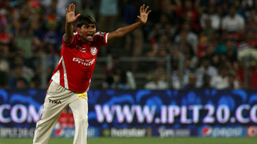 Sandeep Sharma successfully appeals for the wicket of Sanju Samson