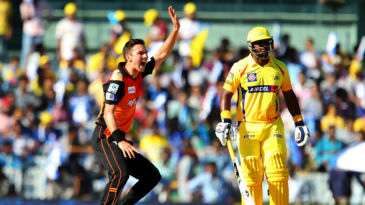 Trent Boult appeals for the wicket of Brendon McCullum