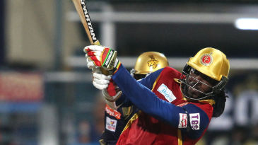 Chris Gayle hits out on his way to a 56-ball 96