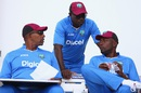 Phil Simmons, Richie Richardson and Curtly Ambrose have a chat, Antigua, April 11, 2015