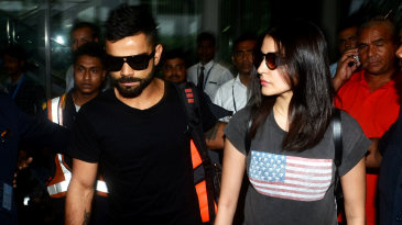 Virat Kohli and Anushka Sharma arrive at the Kolkata airport