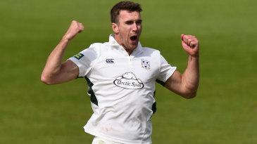 Jack Shantry celebrates a wicket