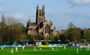 The view of Worcester cathedral has been opened up at New Road, Worcestershire v Yorkshire, County Championship Division One, New Road, 2nd day, April 13, 2015
