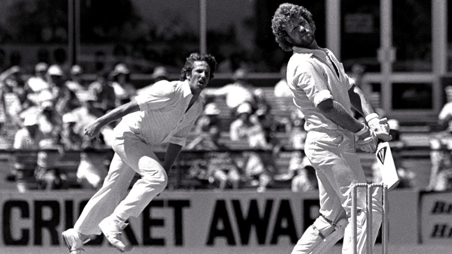 Gary Cosier pulls away from a delivery bowled by Ian Botham
