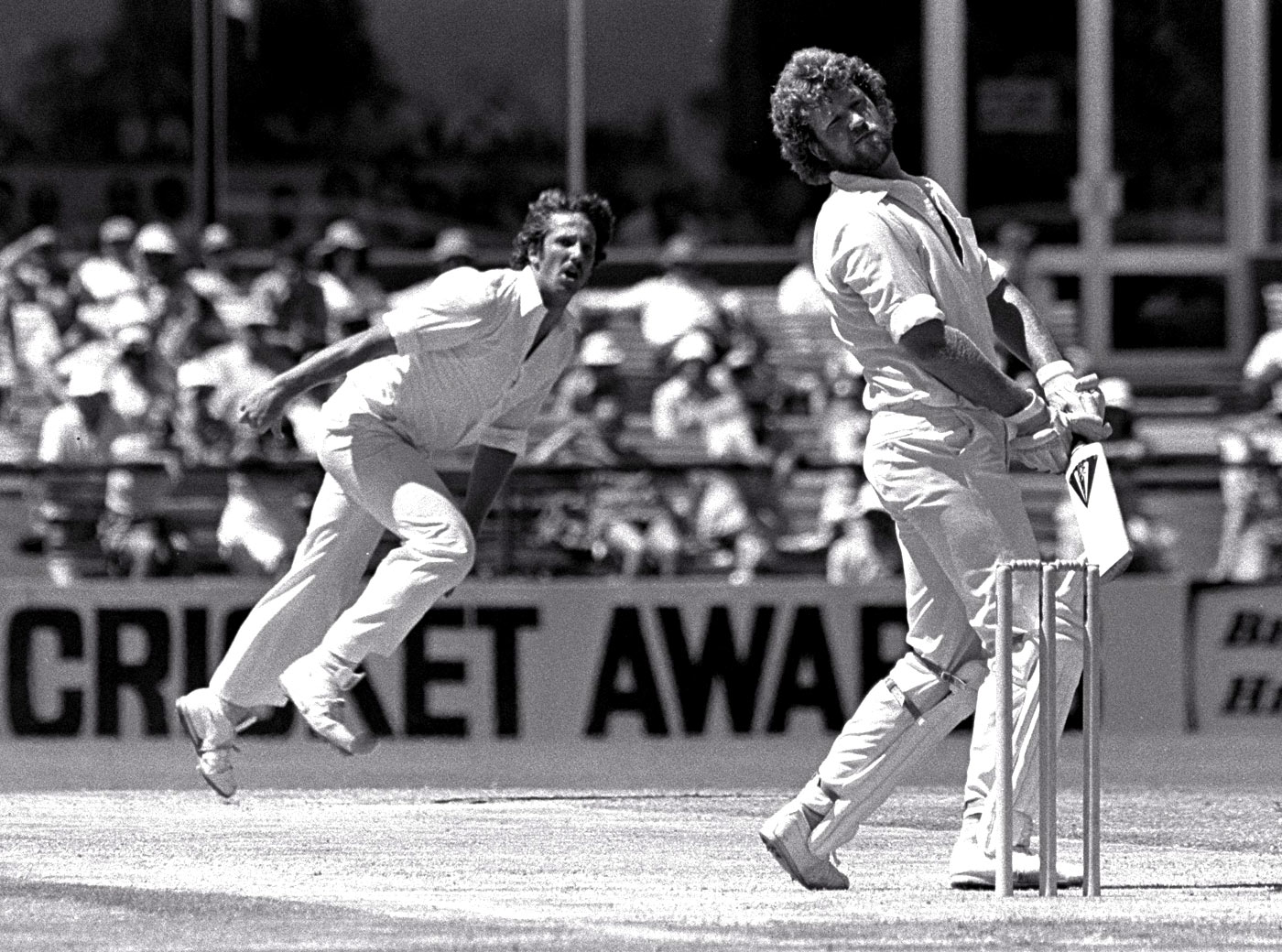 Gary Cosier pulls away from a delivery from Ian Botham in the Perth Test of 1978