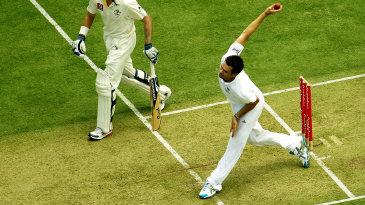 James Anderson bowls